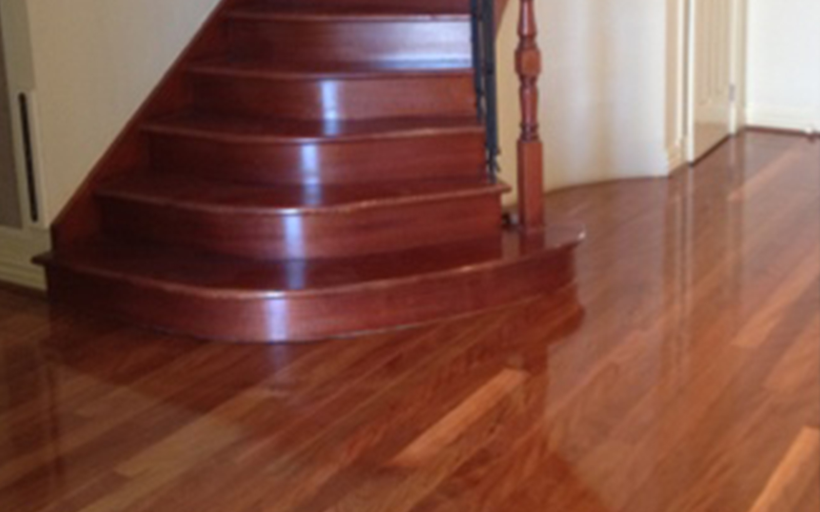 Jarrah Floorboards And Staircase - Semigloss Finish