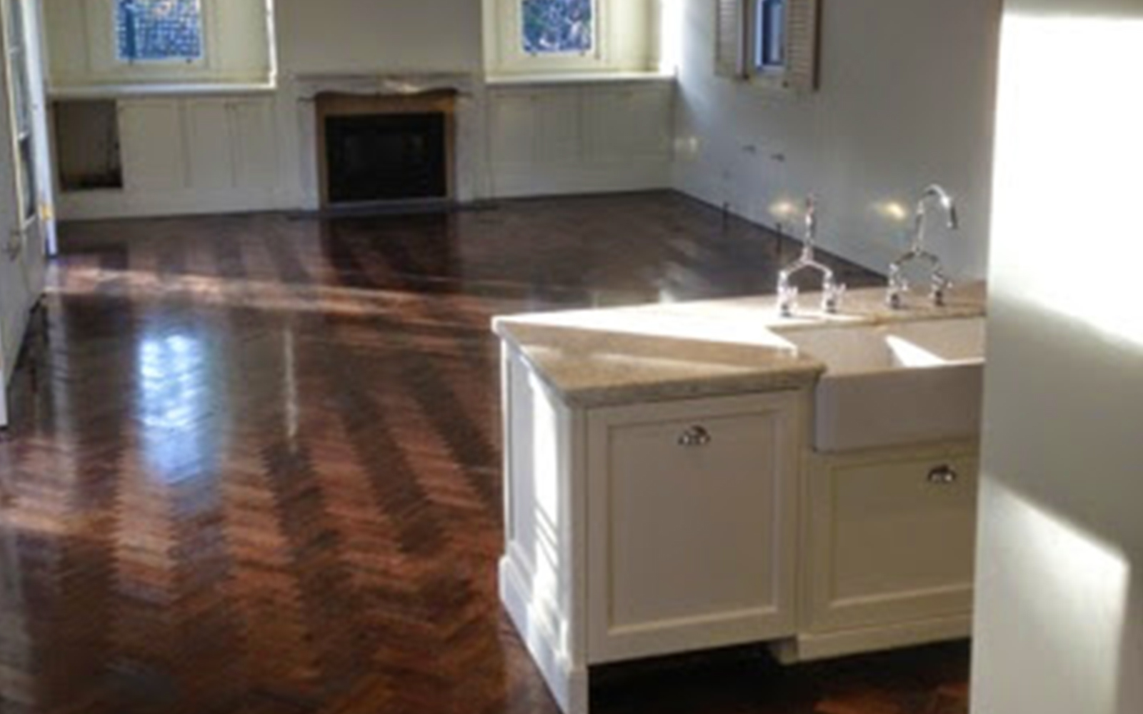 Parquetry Stained With Brown Japan And Finished With Satin