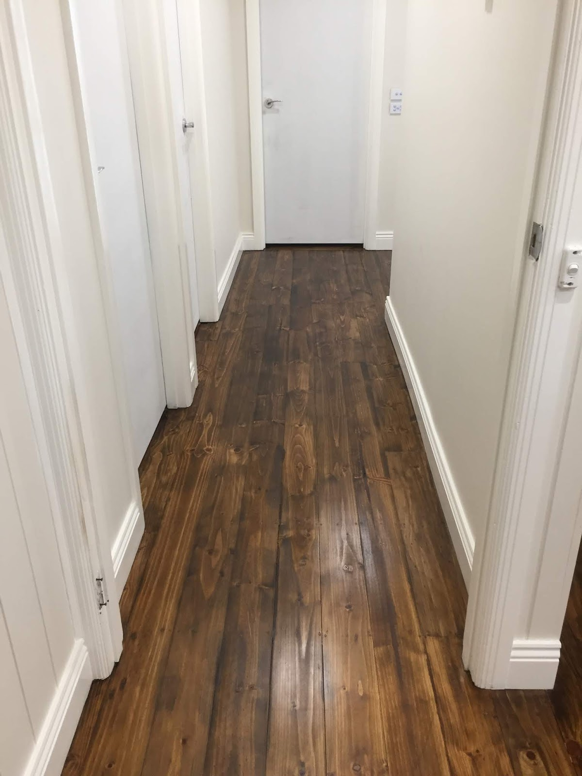 Radiata Pine stained with brown Japan colour